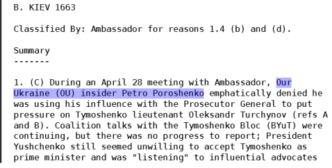 US cable on Poroshenko, 28.04.2006 (wikileaks)