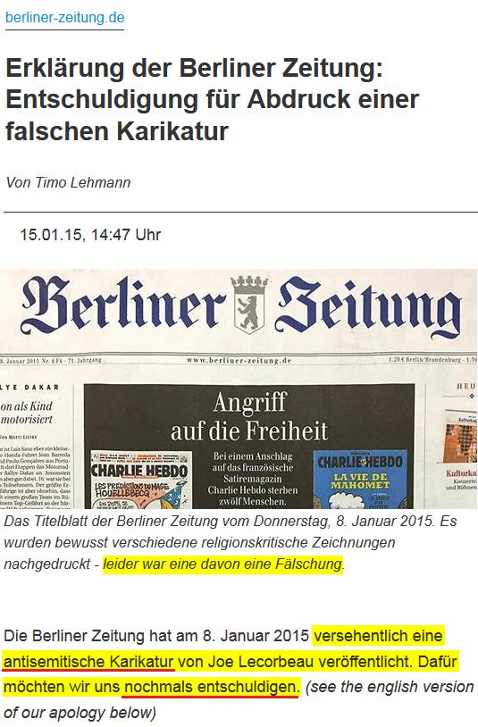 2015-01-15 Berliner Zeitung_Erklärung_der_Berliner_Zeitung_Entschuldigung_für_Abdruck_einer_falschen_Karikatur