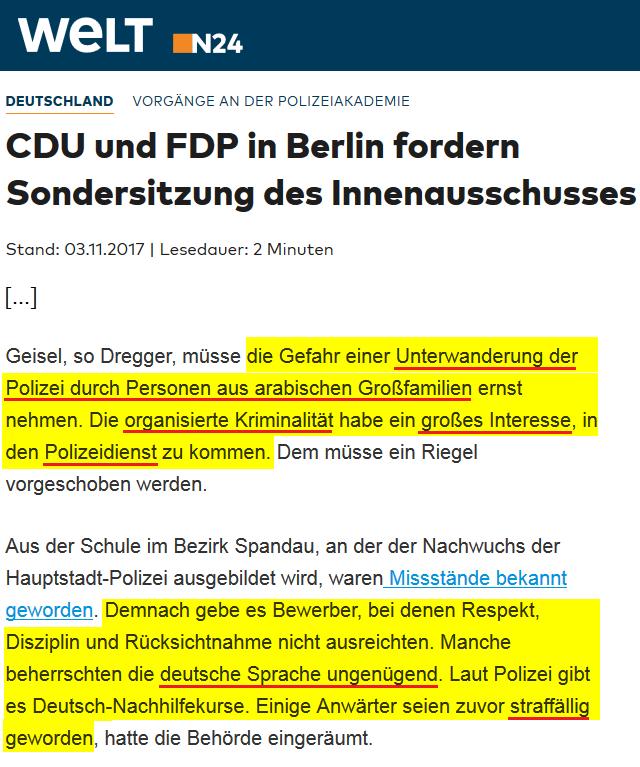 2017-11-03_WELT_Vorgänge_an_der_Polizeiakademie_CDU_und_FDP_in_Berlin_fordern_Sondersitzung_des