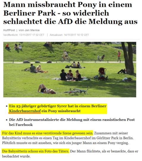 2017-11-13 HUFFPOST_Mann_missbraucht_Pony_in_einem_Berliner_Park_so_widerlich_schlachtet_die_AfD_d